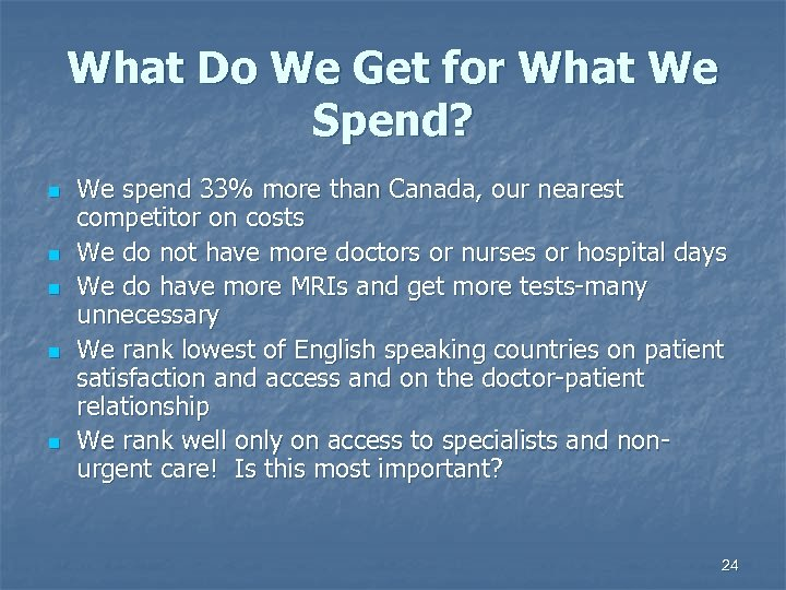 What Do We Get for What We Spend? n n n We spend 33%