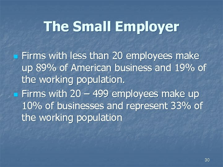 The Small Employer n n Firms with less than 20 employees make up 89%