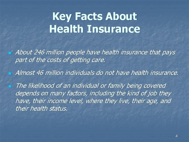 Key Facts About Health Insurance n n n About 246 million people have health