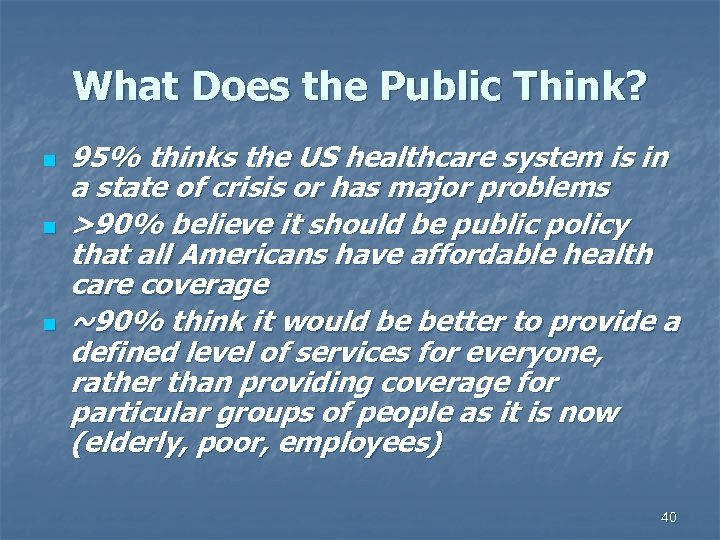 What Does the Public Think? n n n 95% thinks the US healthcare system