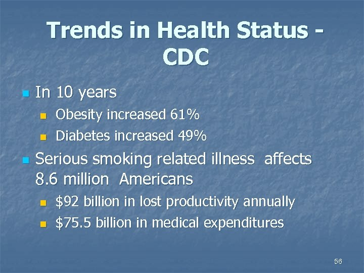 Trends in Health Status - CDC n In 10 years Obesity increased 61% n
