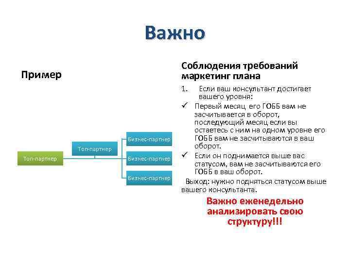 Важно Соблюдения требований маркетинг плана Пример 1. Бизнес-партнер Топ-партнер Бизнес-партнер Если ваш консультант достигает