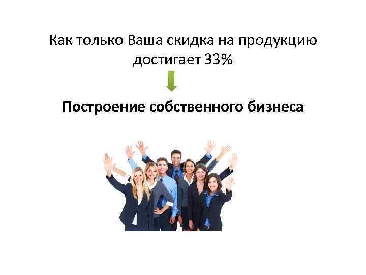 Как только Ваша скидка на продукцию достигает 33% Построение собственного бизнеса