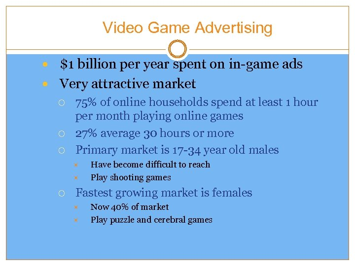 Video Game Advertising $1 billion per year spent on in-game ads Very attractive market