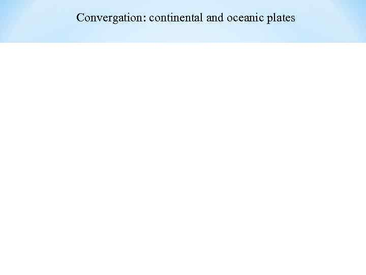 Convergation: continental and oceanic plates
