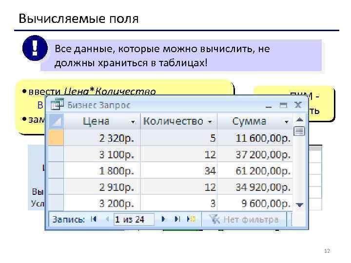 Вычисляемые поля ! Все данные, которые можно вычислить, не должны храниться в таблицах! •