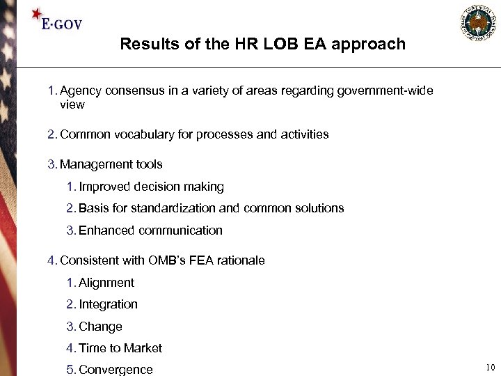 Results of the HR LOB EA approach 1. Agency consensus in a variety of