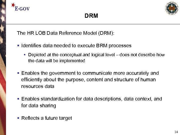 DRM The HR LOB Data Reference Model (DRM): § Identifies data needed to execute