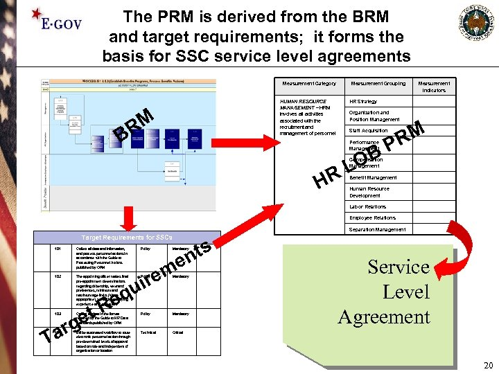 The PRM is derived from the BRM and target requirements; it forms the basis
