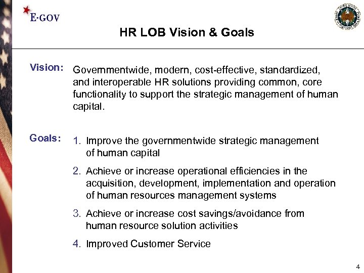 HR LOB Vision & Goals Vision: Governmentwide, modern, cost-effective, standardized, and interoperable HR solutions