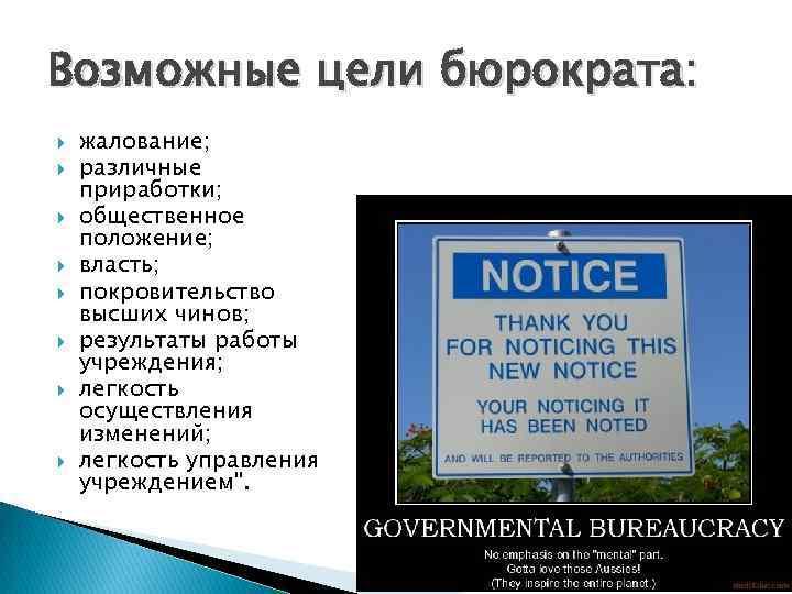 Возможные цели бюрократа: жалование; различные приработки; общественное положение; власть; покровительство высших чинов; результаты работы