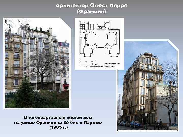 Архитектор Огюст Перре (Франция) Многоквартирный жилой дом на улице Франклина 25 бис в Париже