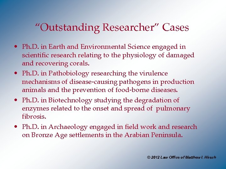 """Outstanding Researcher"" Cases • Ph. D. in Earth and Environmental Science engaged in scientific"