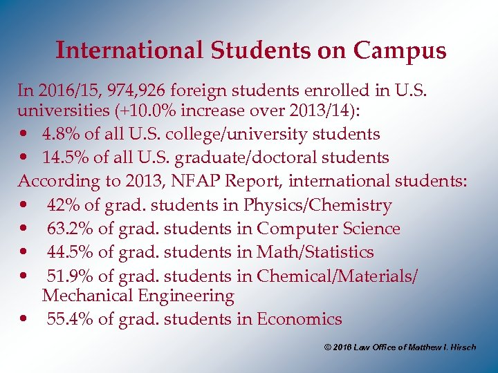 International Students on Campus In 2016/15, 974, 926 foreign students enrolled in U. S.