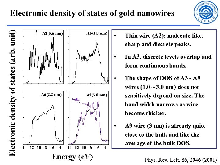 Electronic density of states of gold nanowires • Thin wire (A 2): molecule-like, sharp