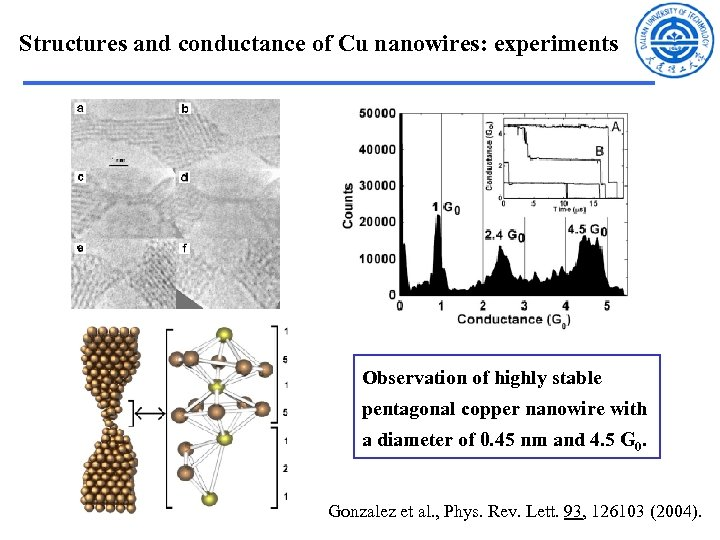 Structures and conductance of Cu nanowires: experiments Observation of highly stable pentagonal copper nanowire