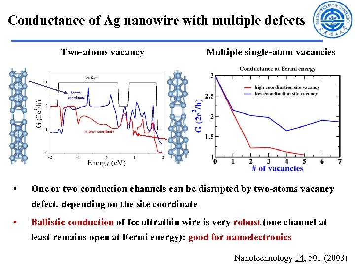 Conductance of Ag nanowire with multiple defects Two-atoms vacancy • Multiple single-atom vacancies One