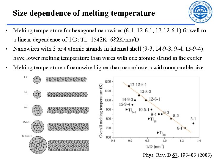 Size dependence of melting temperature • Melting temperature for hexagonal nanowires (6 -1, 12