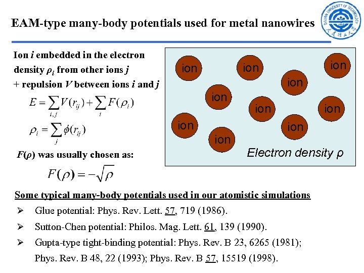 EAM-type many-body potentials used for metal nanowires Ion i embedded in the electron density