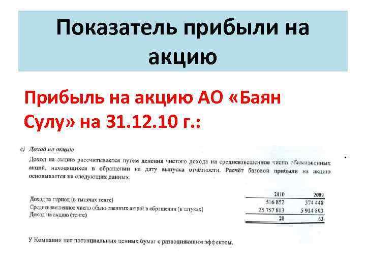 Показатель прибыли на акцию Прибыль на акцию АО «Баян Сулу» на 31. 12. 10