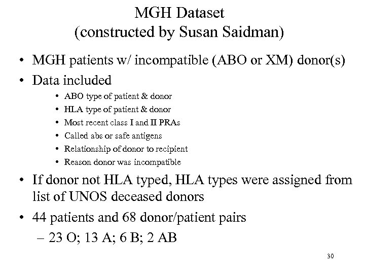MGH Dataset (constructed by Susan Saidman) • MGH patients w/ incompatible (ABO or XM)