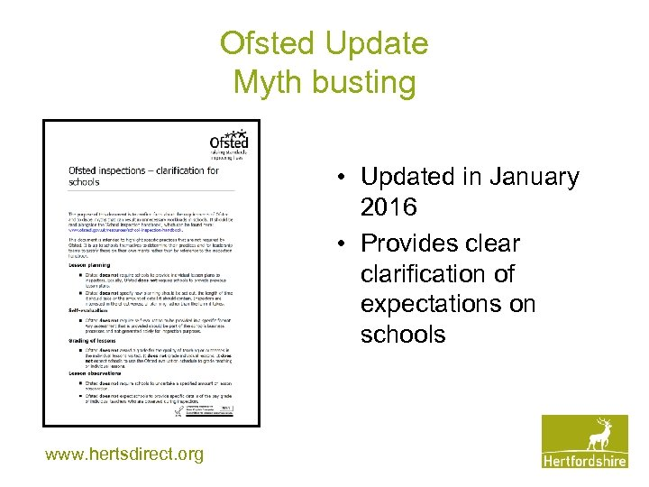 Ofsted Update Myth busting • Updated in January 2016 • Provides clear clarification of