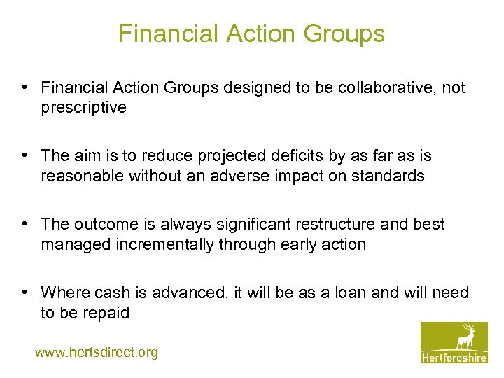 Financial Action Groups • Financial Action Groups designed to be collaborative, not prescriptive •