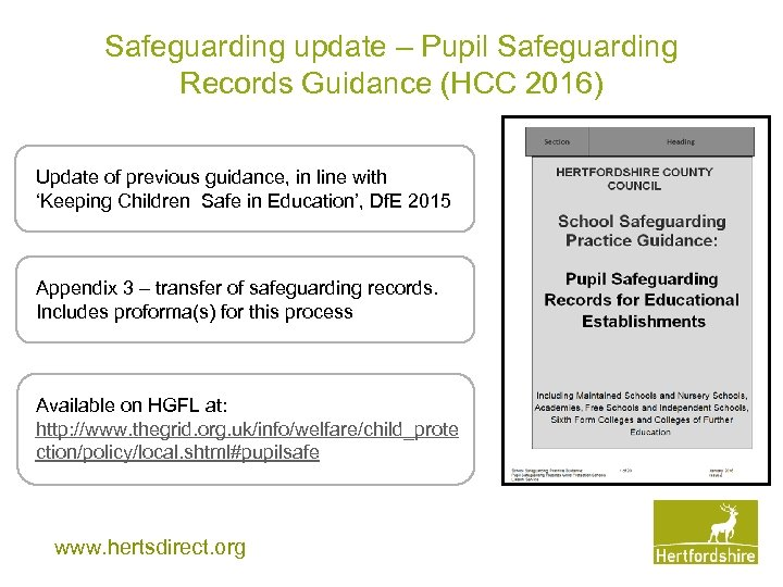 Safeguarding update – Pupil Safeguarding Records Guidance (HCC 2016) Update of previous guidance, in