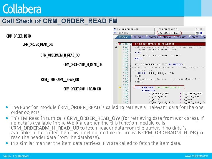 Call Stack of CRM_ORDER_READ FM • The Function module CRM_ORDER_READ is called to retrieve