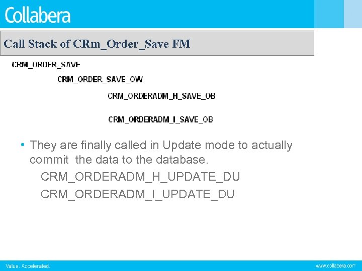 Call Stack of CRm_Order_Save FM • They are finally called in Update mode to