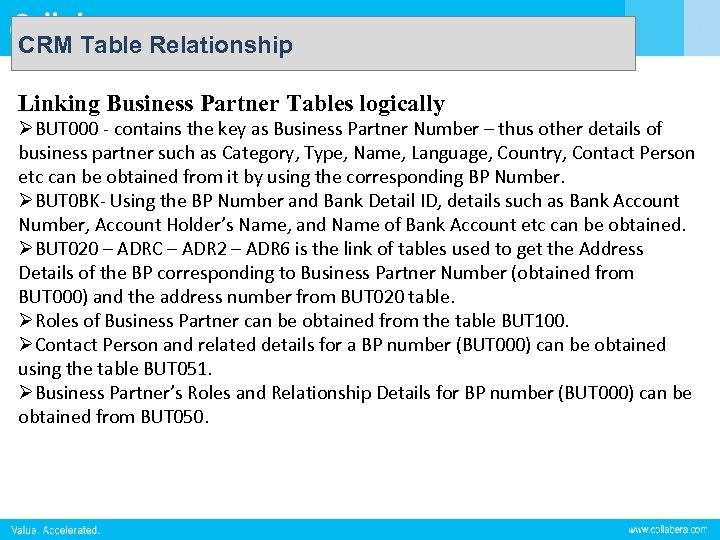 CRM Table Relationship Linking Business Partner Tables logically ØBUT 000 - contains the key
