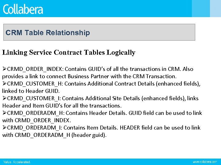 CRM Table Relationship Linking Service Contract Tables Logically ØCRMD_ORDER_INDEX: Contains GUID's of all the