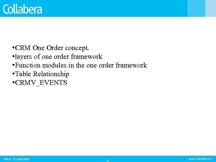 • CRM One Order concept. • layers of one order framework • Function