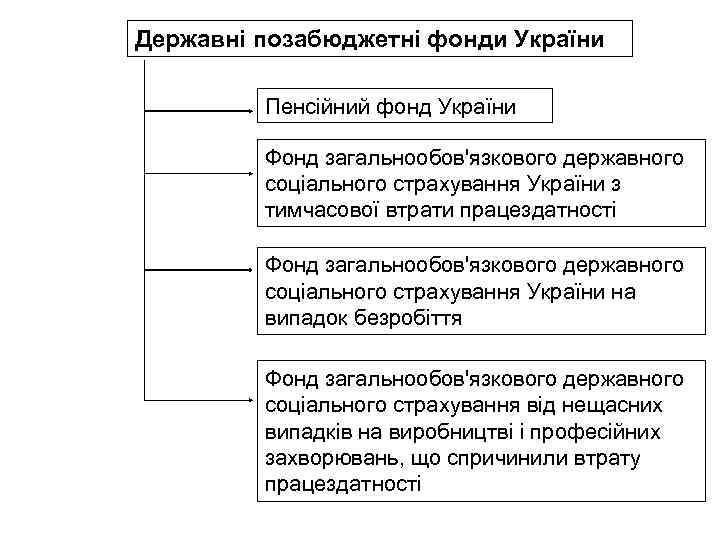 Державні позабюджетні фонди України Пенсійний фонд України Фонд загальнообов'язкового державного соціального страхування України з