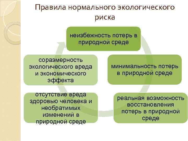 Правила нормального экологического риска неизбежность потерь в природной среде соразмерность экологического вреда и экономического