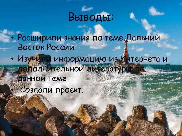 Выводы: • Расширили знания по теме Дальний Восток России • Изучили информацию из Интернета
