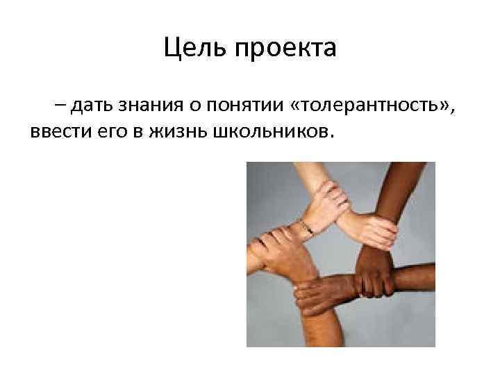 Цель проекта – дать знания о понятии «толерантность» , ввести его в жизнь школьников.