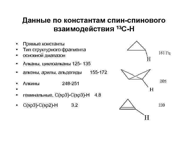 Данные по константам спин-спинового взаимодействия 13 С-Н • • • Прямые константы Тип структурного