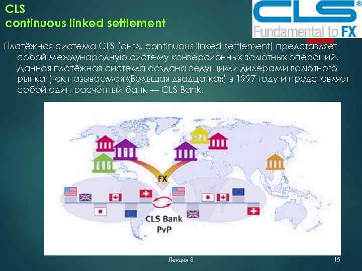 CLS continuous linked settlement Платёжная система CLS (англ. continuous linked settlement) представляет собой международную