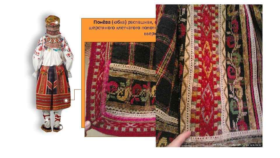Понёва (юбка) распашная, сшита из трех полотнищ темно-синего шерстяного клетчатого полотна домашнего производства, собранных