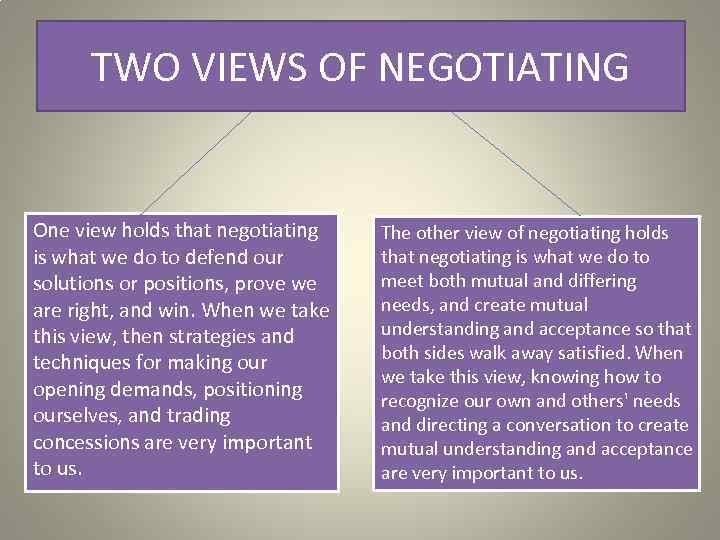 TWO VIEWS OF NEGOTIATING One view holds that negotiating is what we do to