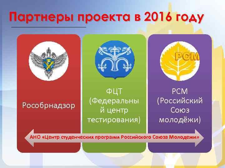 Партнеры проекта в 2016 году Рособрнадзор ФЦТ (Федеральны й центр тестирования) РСМ (Российский Союз