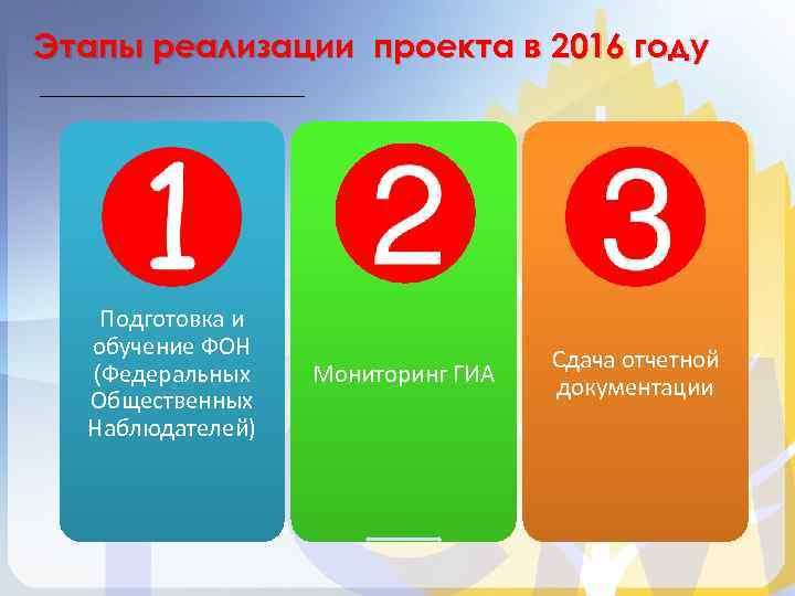 Этапы реализации проекта в 2016 году Подготовка и обучение ФОН (Федеральных Общественных Наблюдателей) Мониторинг