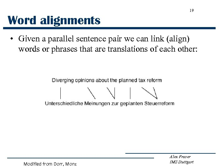19 Word alignments • Given a parallel sentence pair we can link (align) words