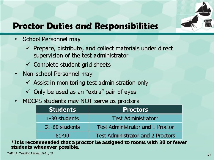 Proctor Duties and Responsibilities • School Personnel may ü Prepare, distribute, and collect materials