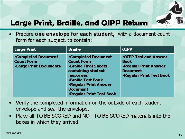 Large Print, Braille, and OIPP Return • Prepare one envelope for each student, with