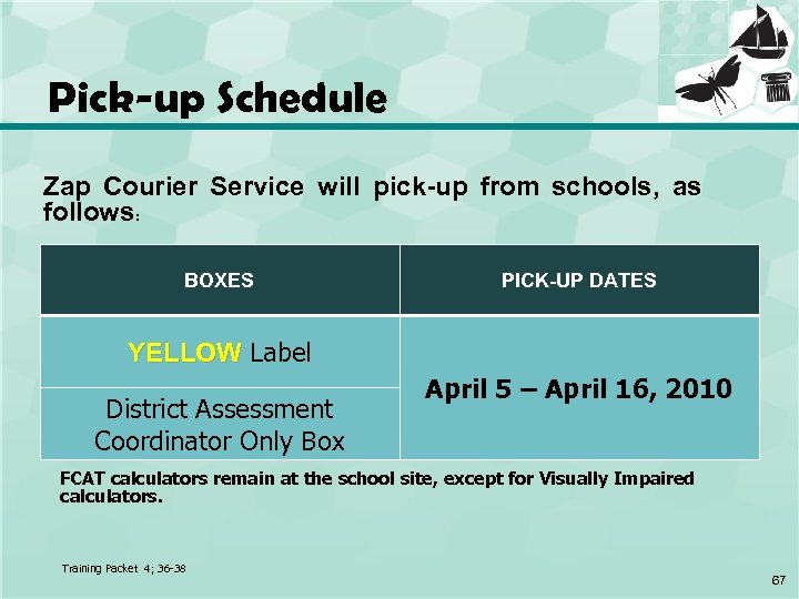 Pick-up Schedule Zap Courier Service will pick-up from schools, as follows: BOXES PICK-UP DATES