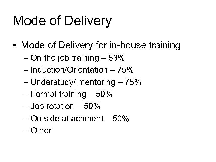 Mode of Delivery • Mode of Delivery for in-house training – On the job
