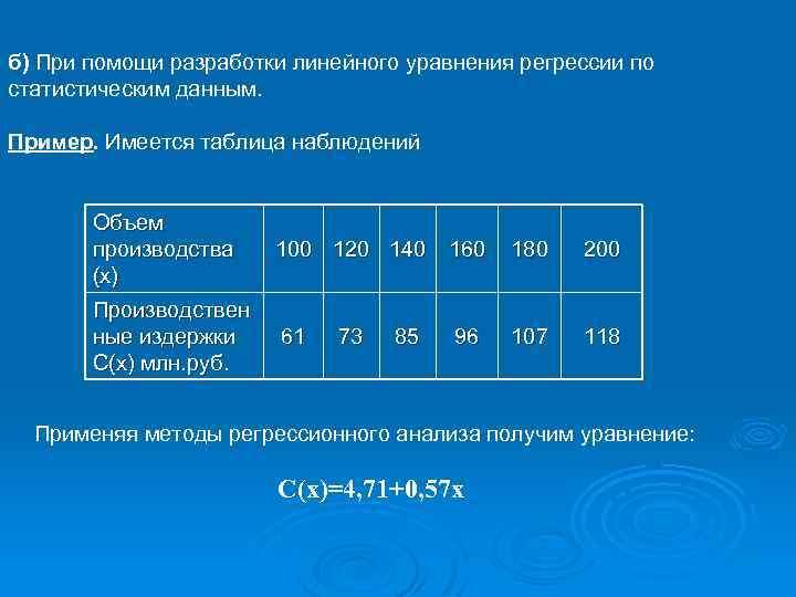 б) При помощи разработки линейного уравнения регрессии по статистическим данным. Пример. Имеется таблица наблюдений