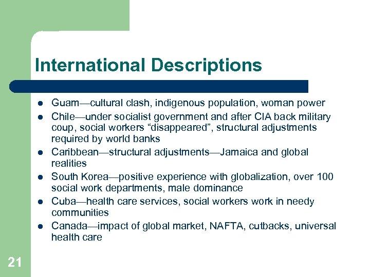 International Descriptions l l l 21 Guam—cultural clash, indigenous population, woman power Chile—under socialist